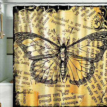 Bath Shower Curtain butterfly newspaper art nature grunge gold