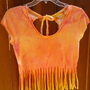 One of a kind Destroy Sun bleach Tie Dye Fringe Crop by clrprnt