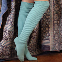 Mint Green Slouchy Sock | Scrunchy Over the Knee Socks | Playful Sophisticated Footwear & Legwear at Between the Sheets