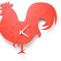 The Wake Up Red Rooster wall mounted clock from LeLuni by LeLuni
