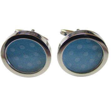 Polka Dot Light Blue Colored Classic Cufflinks