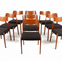 Set of Nine Mid Century Danish Moller Model 71 Teak Dining Chairs