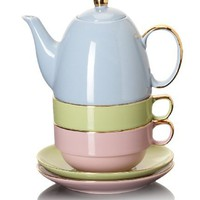 Classic Coffee & Tea Glazed Teapot for Two