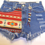 Mid Rise  Denim Shorts Southwestern with Beads by Turnupthevolume