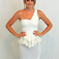 White one shoulder dress with lace peplum- $39.00 | Daily Chic Dresses | International Shipping