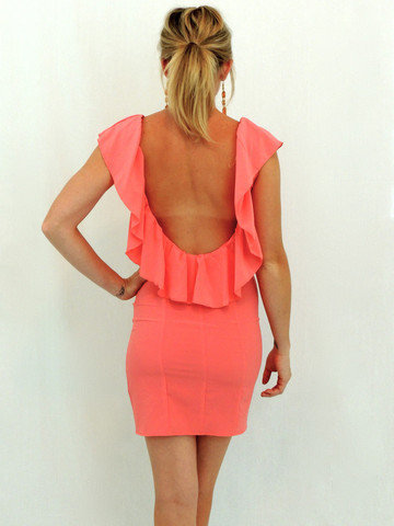 Open back ruffle dress salmon - $49.00 | Daily Chic Dresses | International Shipping