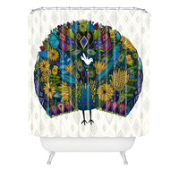 Sharon Turner Peacock Garden Shower Curtain