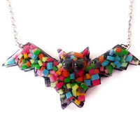 Rainbow Bat Necklace - Colorful Sprinkles Pendant - Fun Jewelry