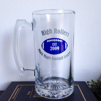 Personalized Fantasy Football team beer mugs abd beer glasses