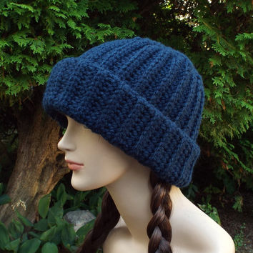 Navy Blue Crochet Hat - Ribbed Cap - Womens Slouch Beanie - Oversized Chunky Hat - Long Slouchy Beanie - Slouchy Hat