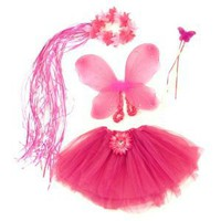 Pink & Hotpink 4 Piece Flower Fairy Princess Costume Set. Includes Tutu, Wings, Wand and Flower Halo