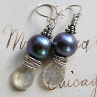 Moonbeams & Peacock Orbs / FWPeacock Pearls, Moonstone, Sterling | miabellacollection-jewelry - Jewelry on ArtFire