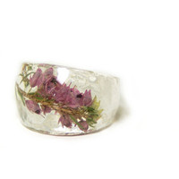 Pink Flower Resin Ring, Sizes 5-9 - Faerie