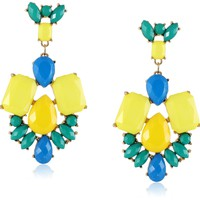Opaque Rectangle Posted Yellow Statement Earrings