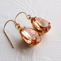 Peach Pink Earrings by Aqsa on Etsy