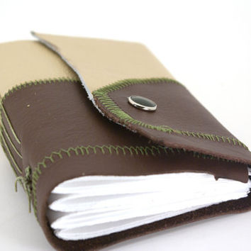 Small Leather Journal or Sketchbook Peanut Butter by ConduitPress