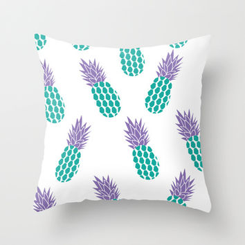Pineapples  Throw Pillow by Ashley Hillman