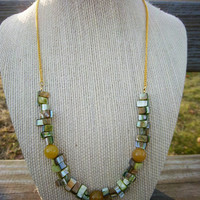 Green Shell and Yellow Fire Agate Fall Forest Necklace