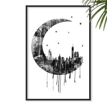 Moon Poster Geometric Art Galaxy Night Sky SCRAPER City Space Stars NY Decor Watercolor Art Astronomy Wall Art Home Decor Dreamy luna lunar