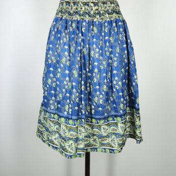 Sari Skirt / Hand Made / Vintage Cotton Blend Indian Sari / Blue Green Floral Print / Limited Edition / Size Small to Medium S M