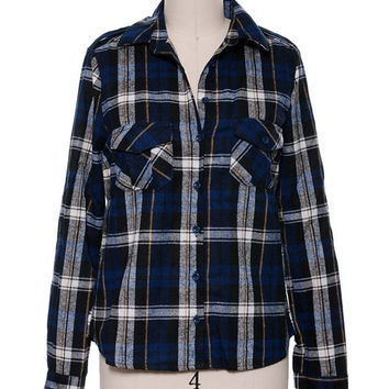 Draya Plaid Top- Blue