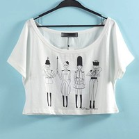 British Marching Band Graphic Crop Top Summer Cropped Tee
