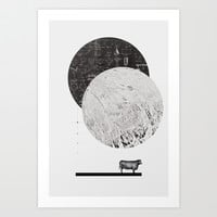 Calculating a Jump over the Moon Art Print by Anna Pietrzak