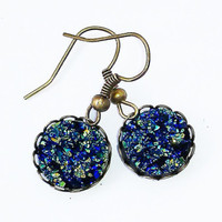Blue sparkly earrings » Craftori