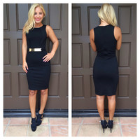 Buckle Up Sleeveless Dress - BLACK
