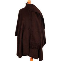 Chocolate Brown Baby Alpaca Wool Cloak Cape, With Attached Scarf. Very Warm Still Light