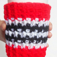 Arizona Team Coffee Cozy in Red, Black and White, ready to ship.