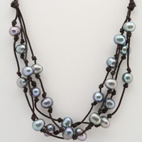 Peacock Colored Large Hole Pearls Knotted on Cotton/Linen Cord | Felicia - Jewelry on ArtFire