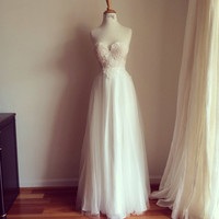 Alice in wonderland-Sweetheart Lace long tulle wedding gown-Perfect for summer wedding