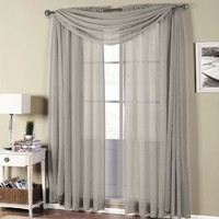 Abri Gray-Silver Rod Pocket Crushed Sheer Curtain Panel, 50x63 inches, by Royal Hotel