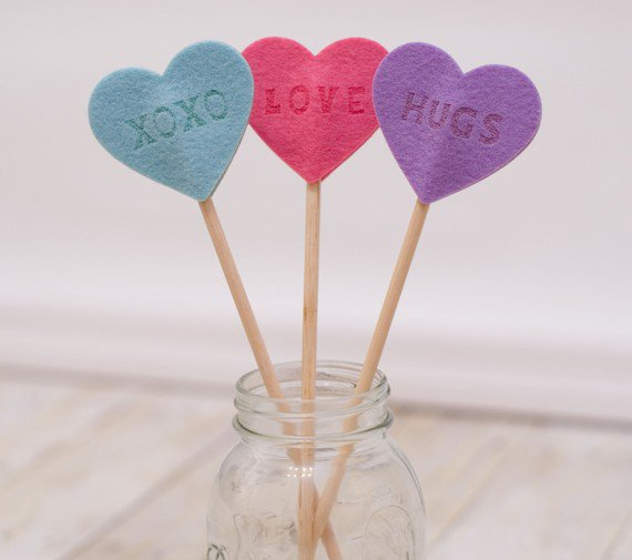 Love Sentiments on a Stick Set of 3 by LeightonHeritage on Etsy