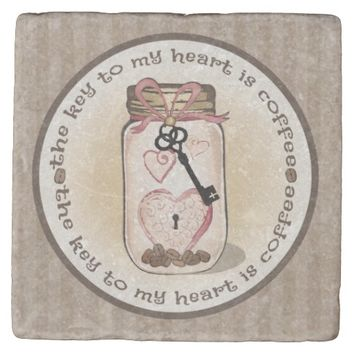 Coffee Lover's Mason Jar Stone Coaster