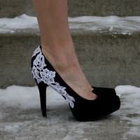 Black Heel with white lace