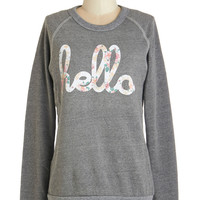ModCloth Darling Mid-length Long Sleeve Sweatshirt Howdy Do Sweatshirt in Grey