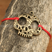 Skull bracelet Adjustable antique bronze skull by luckyvicky