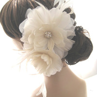 EVANGELINE Feather Flower Bridal Fascinator | Luulla