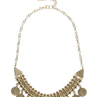 Two Row Gold-colored coin necklace