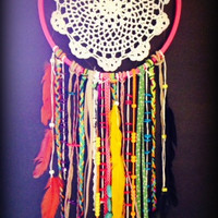 Double Rainbow Inspired Multicolored Dream Catcher