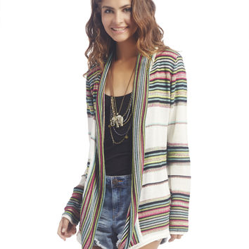 Striped Waterfall Front Cardigan | Wet Seal