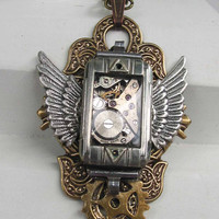 How Time Flys Steampunk Necklace by steamheat on Etsy