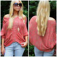 Amora Coral Knit Bat Wing Sweater