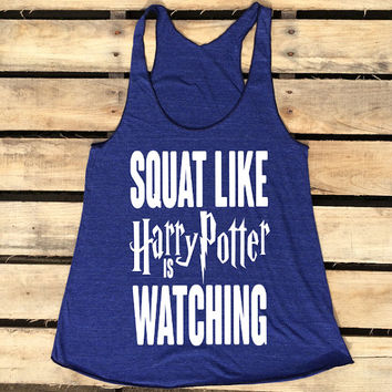 Squat Like Harry Potter is Watching Tank Fitness Tank Gifts for Her Gifts Under 20 Workout Apparel Funny Parody Fandom Potterhead