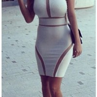 Sexy Nude White Cut Out High Halter Neck Fitted Bodycon Dress Mesh Panel