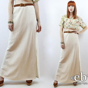 Vintage 90s Cream Cotton High Waisted Skirt Maxi Skirt XS S High Waist Skirt Cream Skirt Summer Skirt High Waisted Skirt Cream Maxi Skirt