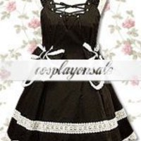 Lolita Costumes Cotton Black Lace Bow School Lolita Dress [T110310] - $73.00