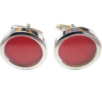 Textured Red Colored Classic Cufflinks